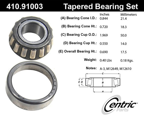 410 91003 Centric Parts Wheel Bearing And Race Set P N 410 91003 Ebay